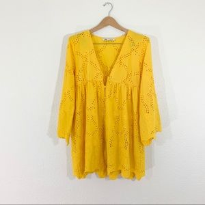 Zara Yellow 3/4 Sleeve Floral Embroidered Dress